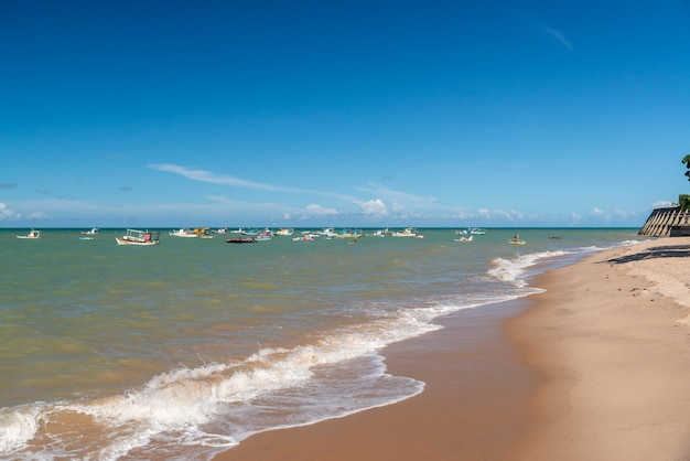 ジョアンペソア、パライバ、ブラジル、2019年3月21日。タンバウビーチ、木、ボート。