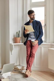 Job applicant posing in cozy apartment