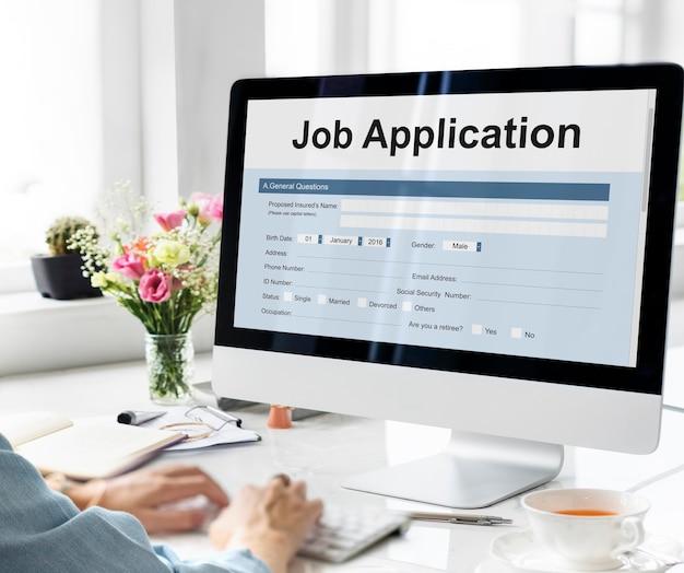 Concetto di modulo di documento di assunzione di domanda di lavoro