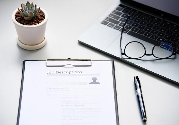 Job description paper in office