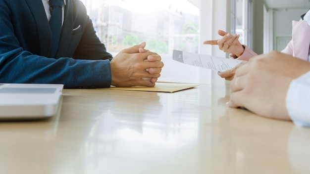 Job interview with human resource manager in office, selective focus