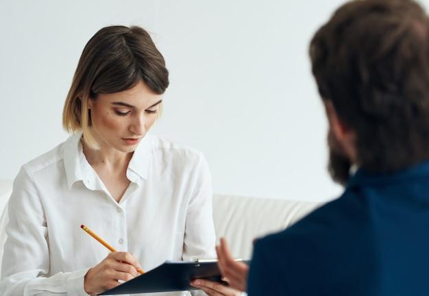직업 이력서 여자와 남자 정장 문서 통신
