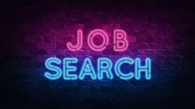 Job search neon sign.