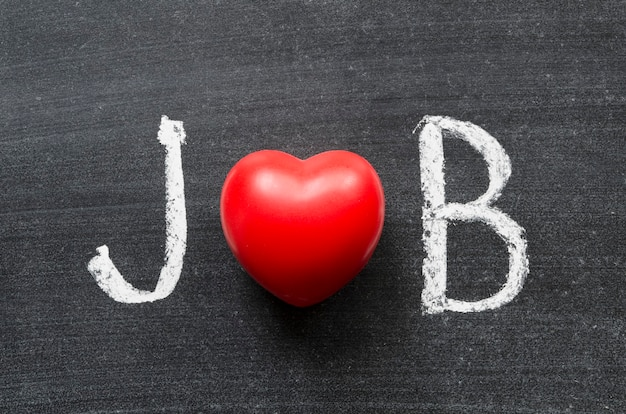 Job word handwritten on chalkboard with heart symbol instead of o