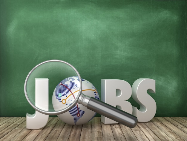 Jobs 3d word with loupe on chalkboard background