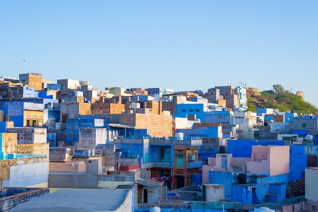 Jodhpur, rajasthan, india, famous travel destination and tourist attraction. the blue city viewed from above in daylight, wide angle.