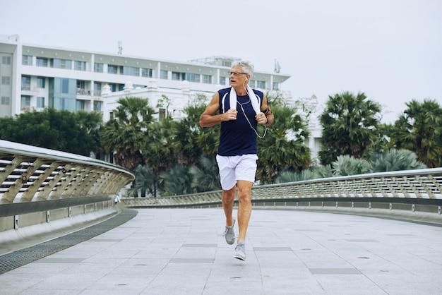 Jogging aged man