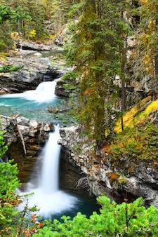 Johnston canyon falls in banff national park, canadian rockies, alberta, canada