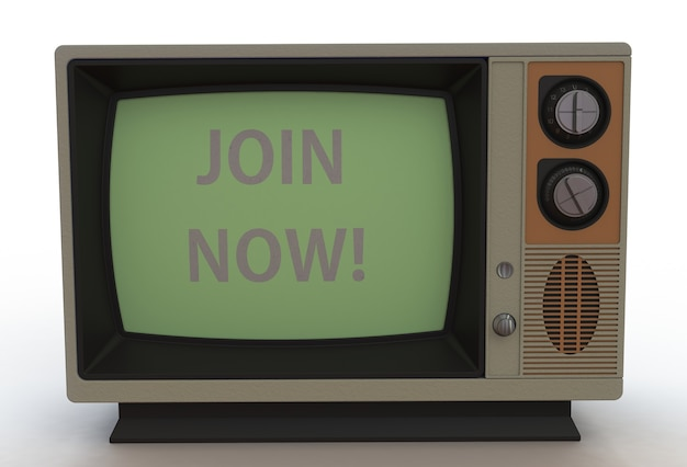 Join now, message on vintage tv