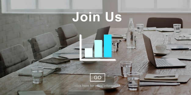 Join us recruitment online technology website concept