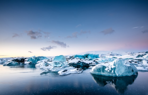 Jokulsarlon glacier lagoon at sunset, iceland