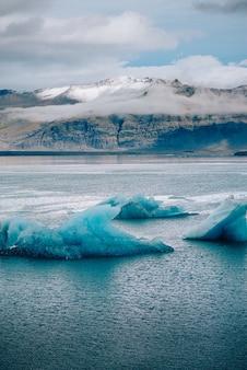 Jokulsarlon lagoon, beautiful cold landscape picture of icelandic glacier lagoon bay