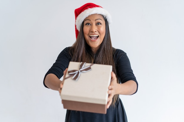 Jolly christmas lady giving gift