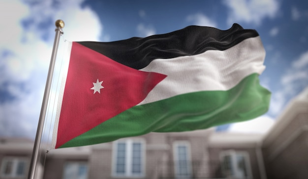 Jordan flag 3d rendering on blue sky building background