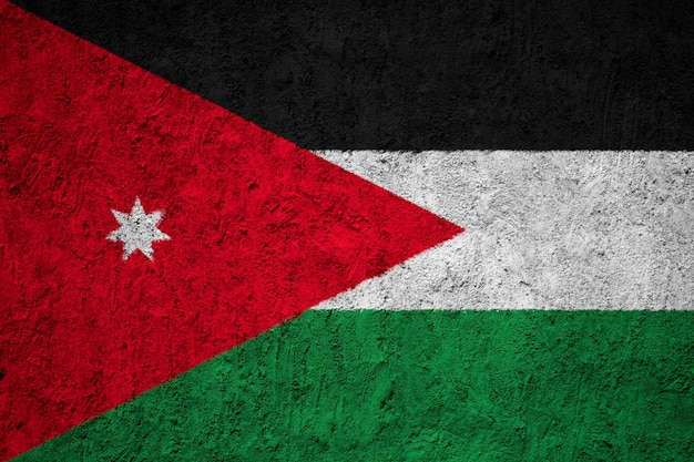 Jordan flag painted on grunge wall