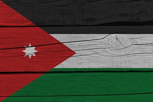 Jordan flag painted on old wood plank