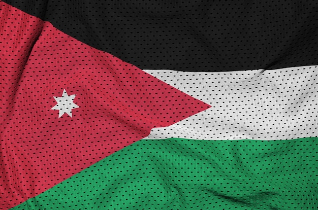 Jordan flag printed on a polyester nylon sportswear mesh fabric