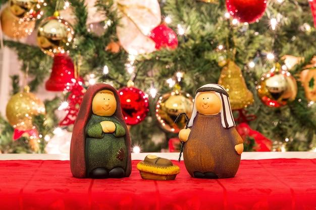 Joseph, mary and baby jesus, christmas scene