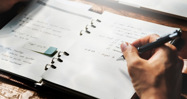 Journal writing planning workplace concept
