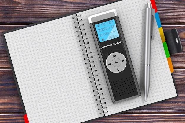 ジャーナリストのデジタルボイスレコーダーまたはディクタフォン、空白の手帳、木製のテーブルにペン。 3dレンダリング