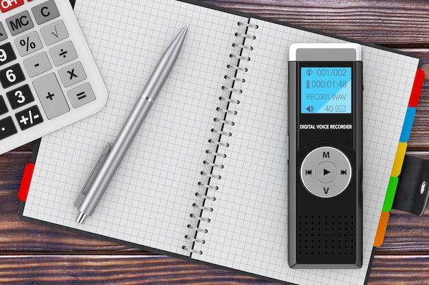 ジャーナリストのデジタルボイスレコーダーまたはディクタフォン、電卓、空白の手帳、木製のテーブルにペン。 3dレンダリング