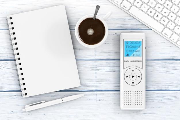 ジャーナリストのデジタルボイスレコーダーまたはディクタフォン、キーボード、木製のテーブルにペンとコーヒーのカップが付いた空白のメモ帳。 3dレンダリング
