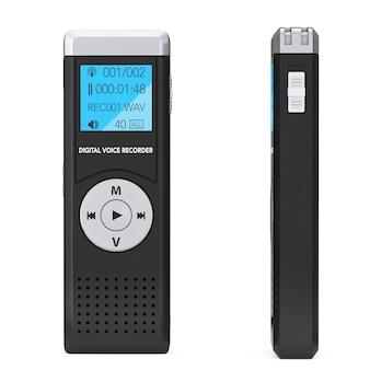 白い背景のジャーナリストデジタルボイスレコーダーまたはディクタフォン。 3dレンダリング