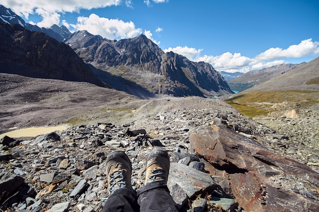Journey on foot through the mountain valleys. beauty of wildlife. altai