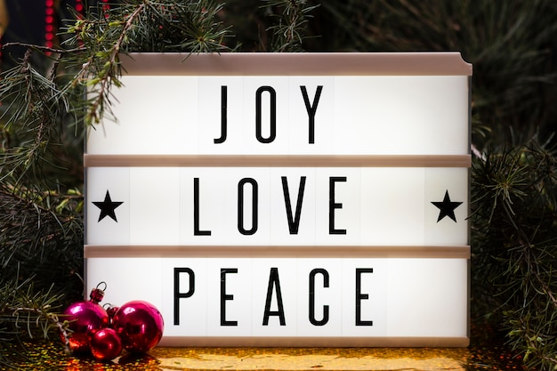 Joy love peace lettering