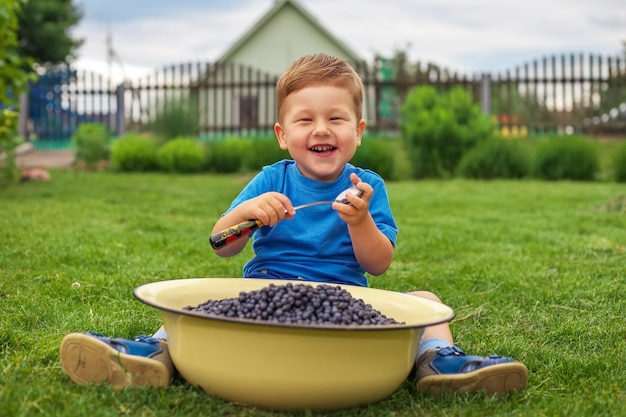緑の草の上に座って、鉄のボウルからブルーベリーを食べるうれしそうな少年。ピクニックをしている子供