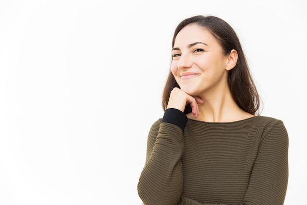Joyful confident latin woman looking