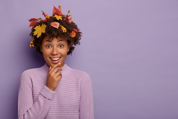 うれしそうな暗い肌の女性はあごに触れ、のんきな幸せな表情を持ち、カメラでニヤリと笑い、巻き毛の紅葉と果実を持ち、控えめなフレンドリーな外観、紫色のセーターを着て、スペースをコピーします
