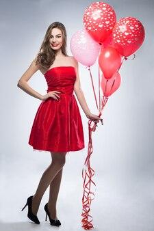 발렌타인 데이에 즐거운 소녀