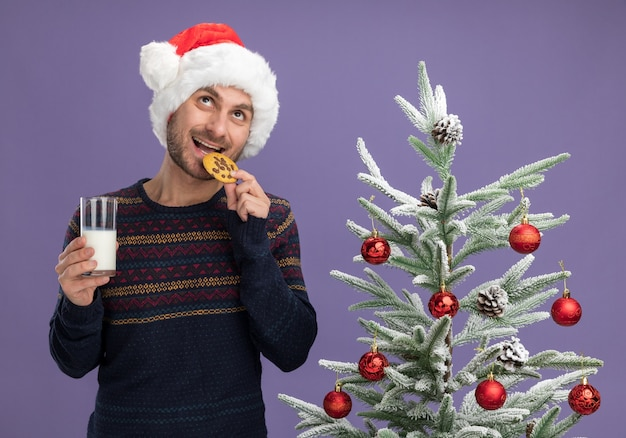 Joyful young caucasian man wearing christmas hat standing near decorated christmas tree holding glass of milk and cookie looking up biting cookie isolated on purple background