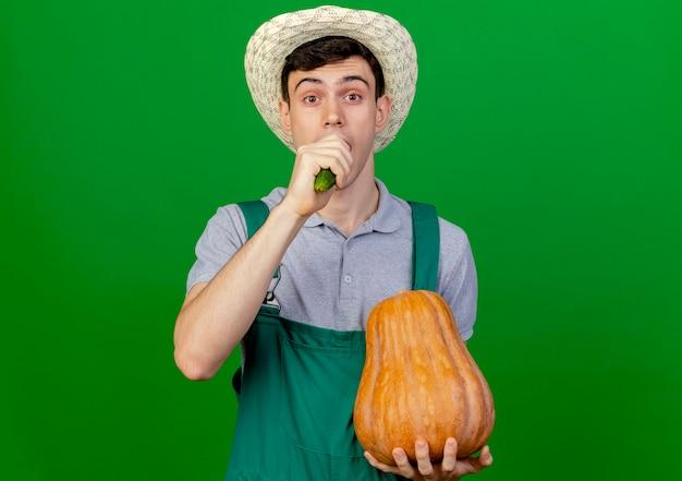 園芸帽子をかぶってうれしそうな若い男性の庭師は、コピースペースで緑の背景に分離されたカボチャとキュウリをかみます