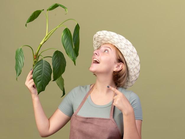 Радостная молодая славянская женщина-садовник в садовой шляпе держит и смотрит на растение на оливково-зеленом