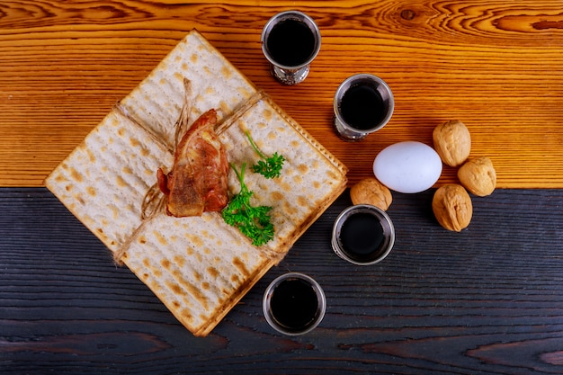Judaism and religious torah on jewish matza on passover