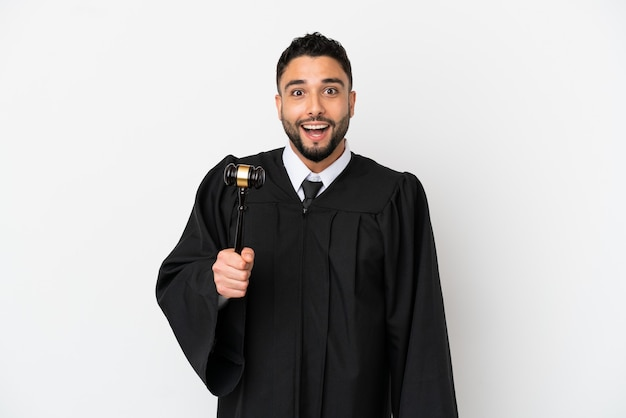 Judge arab man isolated on white background with surprise facial expression