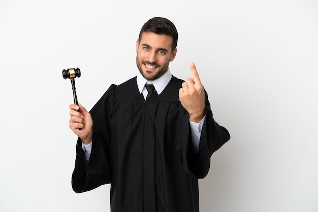 Judge caucasian man isolated on white background doing coming gesture