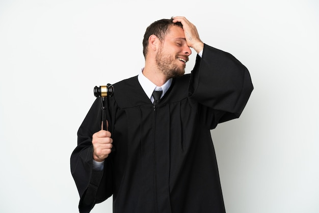 Judge caucasian man isolated on white background has realized something and intending the solution