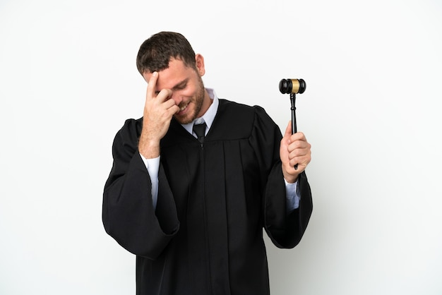 Judge caucasian man isolated on white background laughing