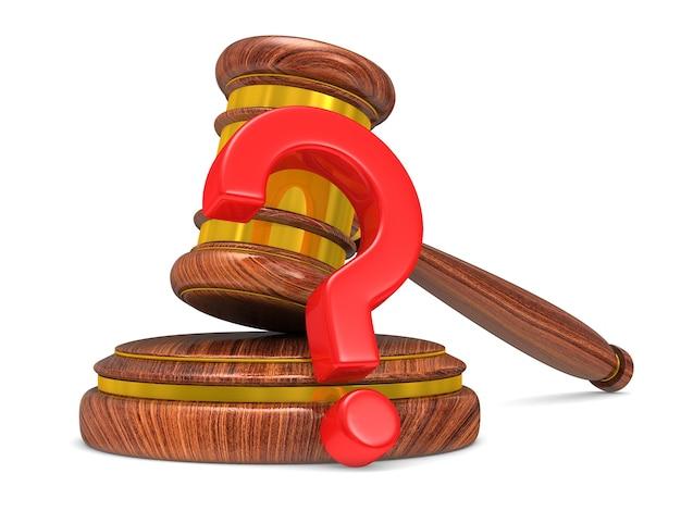 Судья молоток и вопрос. изолированный 3d-рендеринг
