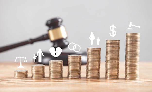 Judge gavel, coins and divorce symbols on the desk.