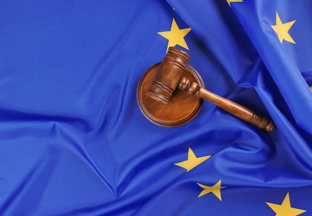 Judge gavel on european union flag