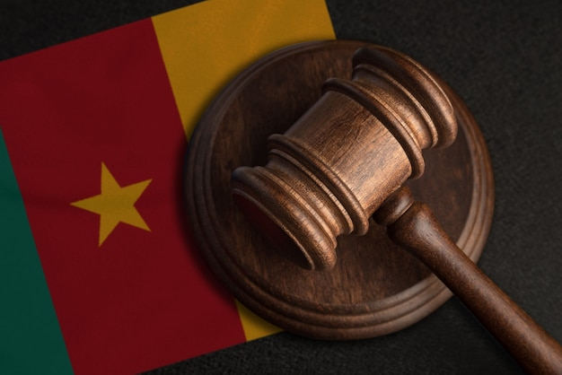 Judge gavel and flag of cameroon