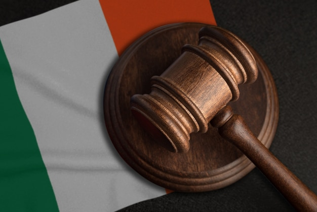 Judge gavel and flag of ireland. law and justice in ireland