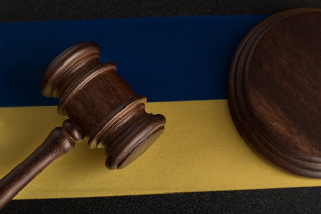 Judge gavel and flag of ukraine
