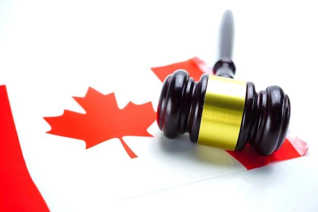 Judge hammer on canada flag