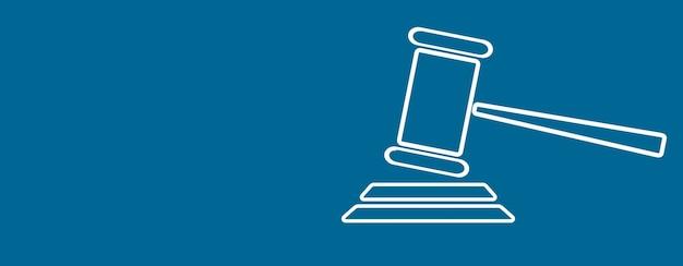 Judge hammer icon on blue background