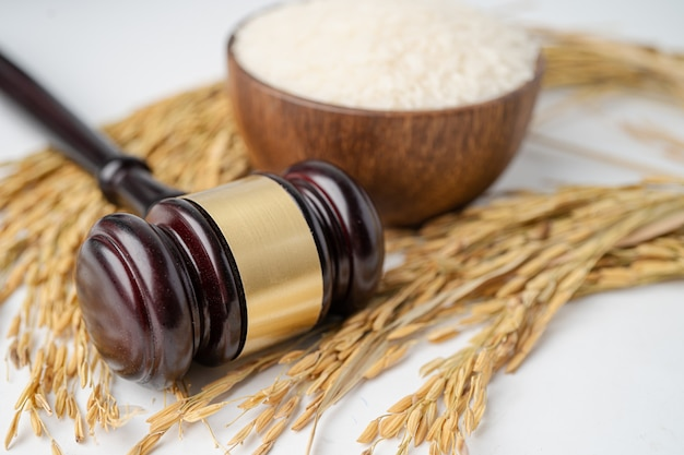 Judge hammer and jasmine rice.